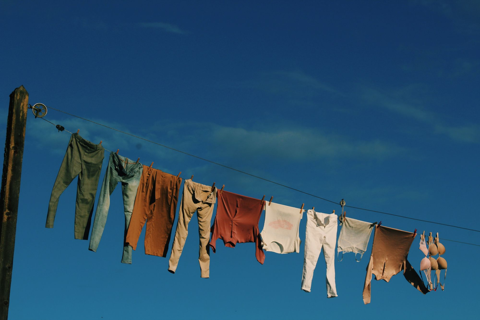 Laundry clothes hanging from a washing line