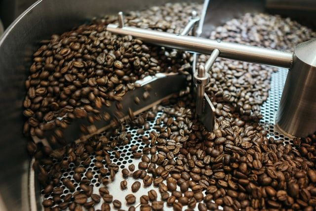 coffee beans during the roasting process